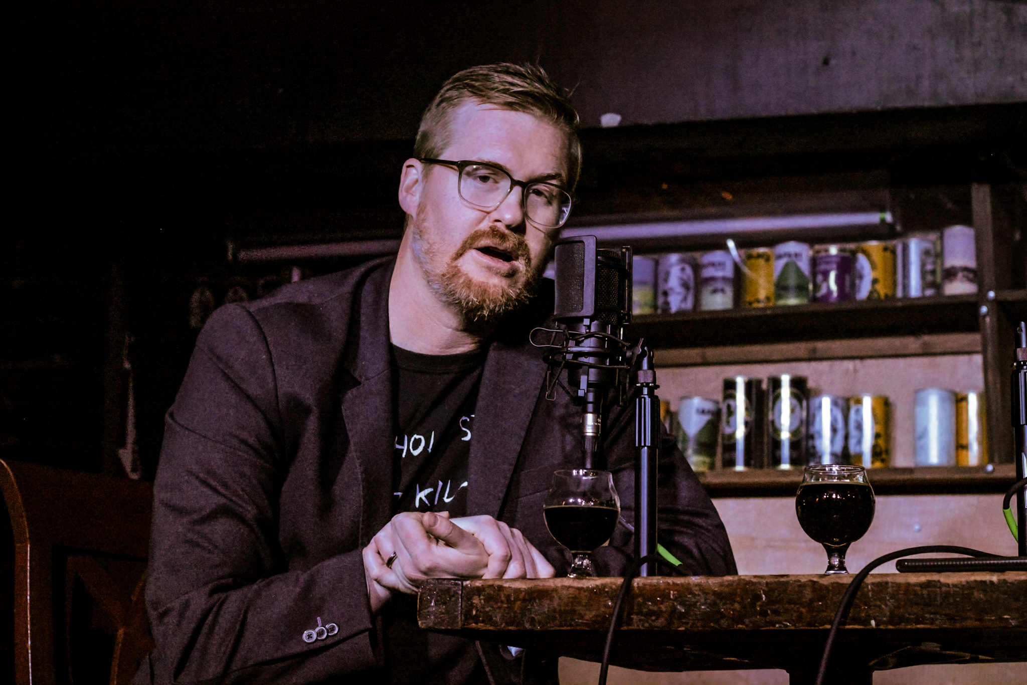 "Ep. 10 – Kurt Braunohler drinking the ""Midnight Express"" while hosting the show."
